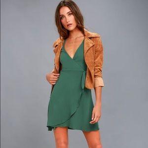 Lulus Green Wrap Dress☘️